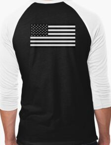 American Flag, STARS & STRIPES, USA, America, Americana, Funeral, Mourning, in Mourning, Black on Black Men's Baseball ¾ T-Shirt