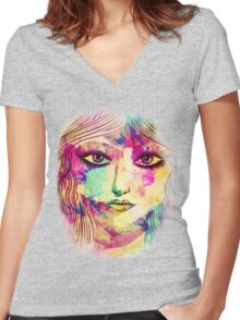 Beauty girl face Women's Fitted V-Neck T-Shirt