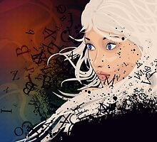 Girl with white hair and text explosion effect by AnnArtshock