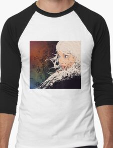 Girl with white hair and text explosion effect Men's Baseball ¾ T-Shirt