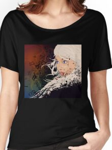 Girl with white hair and text explosion effect Women's Relaxed Fit T-Shirt