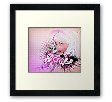 Grunge background with girl and floral Framed Print