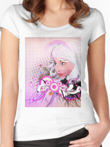 Grunge background with girl and floral Women's Fitted Scoop T-Shirt