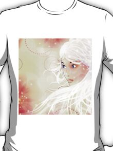 Girl on grunge floral background with abstract flowers T-Shirt
