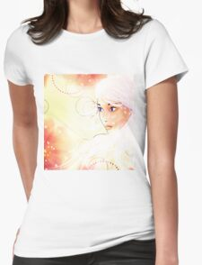 Girl on grunge floral background with abstract flowers Womens Fitted T-Shirt