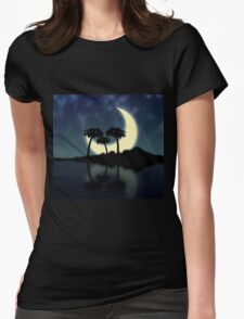 Big moon and island Womens Fitted T-Shirt
