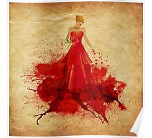 Blonde in dress of paint Poster