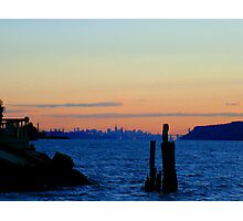 New York City skyline over the Hudson river during sunset  Photographic Print