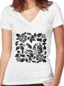 black roses Women's Fitted V-Neck T-Shirt