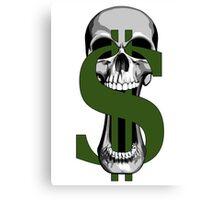 Dollar Sign Skull Canvas Print