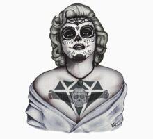 Marilyn sugar skull b&w !!! Kids Tee