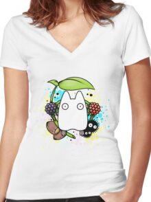 Chibi Totoro Women's Fitted V-Neck T-Shirt