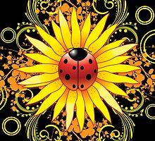 Ladybug Sunflower Paisley Pattern by halegrafx