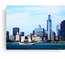 Chicago IL - Schooner Against Chicago Skyline Canvas Print
