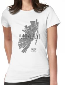 Miami Map Womens Fitted T-Shirt