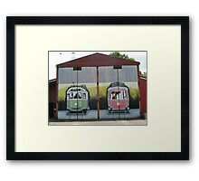 MURAL GRAFFITI TRAIN STATION  Framed Print