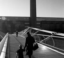Pedestrians on the Millenium Bridge by John Violet