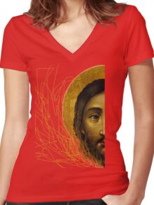 Russian icon  Women's Fitted V-Neck T-Shirt