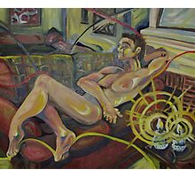 Reclining Male Nude (Oils)-  Photographic Print
