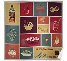 vintage food collage old style Poster