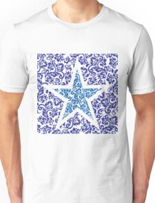 blue floral star Unisex T-Shirt
