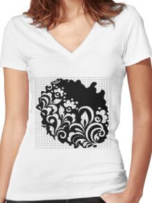 b&w flowers Women's Fitted V-Neck T-Shirt