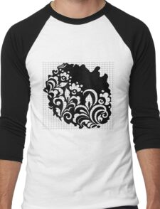 b&w flowers Men's Baseball ¾ T-Shirt