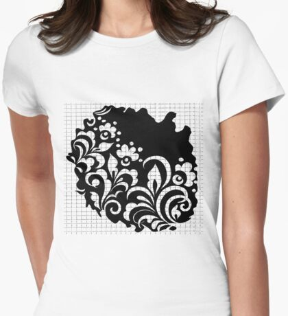 b&w flowers Womens Fitted T-Shirt