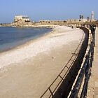 Curving Caesarea Beach by Michael Redbourn