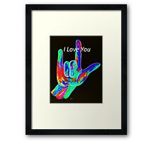 American Sign Language I LOVE YOU on Black Framed Print
