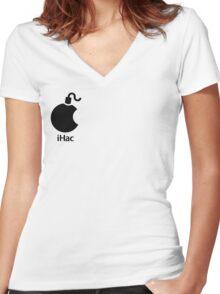 iHac(k) - Black Artwork Women's Fitted V-Neck T-Shirt