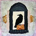"""Raven, """"Waiting for Dawn #2"""", Mixed media collage by Annie Coe"""