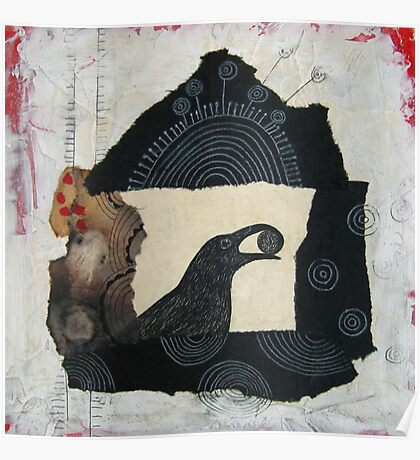 """Raven's Treasure"", Mixed media Collage Poster"