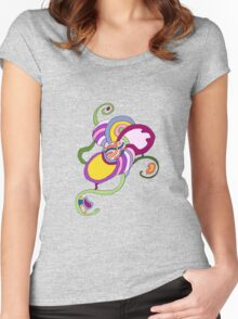 Funky Abstract Flower T-shirt Women's Fitted Scoop T-Shirt