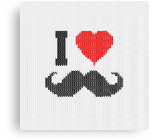 I Love Mustache in Knitting Motif Style Canvas Print