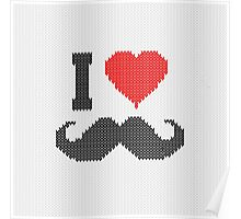 I Love Mustache in Knitting Motif Style Poster