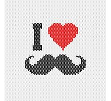 I Love Mustache in Knitting Motif Style Photographic Print