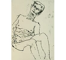 fara monoprint - sitting with clasped hands Photographic Print