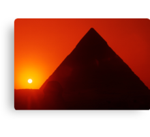 Egypt. Cairo. Giza. Sunset behind The Sphinx and Chephren Pyramid. Canvas Print