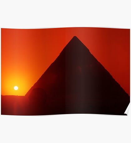 Egypt. Cairo. Giza. Sunset behind The Sphinx and Chephren Pyramid. Poster