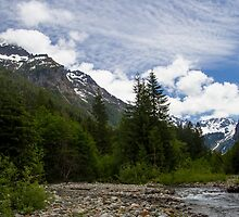 A Creek Flows Through the Mountains in Washington by journeysincolor