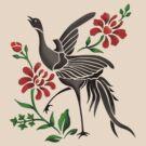 Crane and Flowers by mingtees