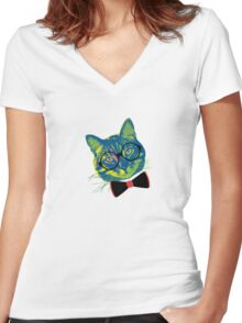Pop Art III (Cool Cat) Women's Fitted V-Neck T-Shirt