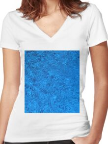 Blue Water - Color Movement and Reflection Women's Fitted V-Neck T-Shirt