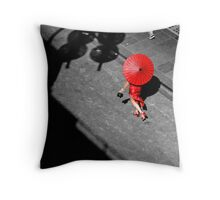 Red China Doll Throw Pillow