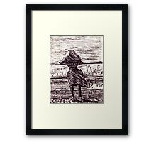 Wind in the port. Black and white pen ink drawing Framed Print