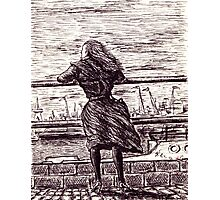 Wind in the port. Black and white pen ink drawing Photographic Print