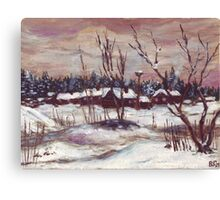 Russian village in winter time oil painting Canvas Print