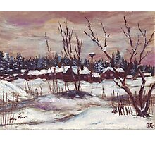 Russian village in winter time oil painting Photographic Print