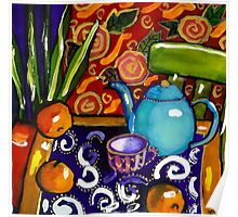 teapot still life watercolour painting Poster